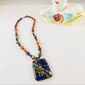 Jewelry - Dichroic & Czech Glass Freshwater Pearl Necklace